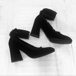 Stuart Weitzman black velvet ankle strap heels